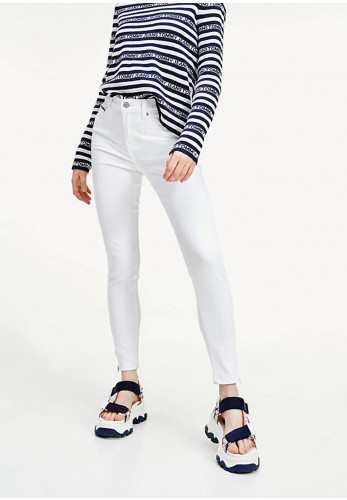 Tommy Jeans Womens Nora Mr Skinny Zip Jeans, White