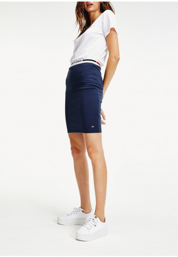 Tommy Jeans Womens Logo Tape Fitted Bodycon Skirt, Navy