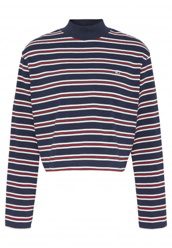 Tommy Jeans Womens Striped Hybrid Top, Navy