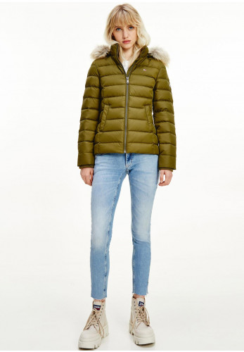 Tommy Jeans Womens Down & Feather Quilted Jacket, Olive