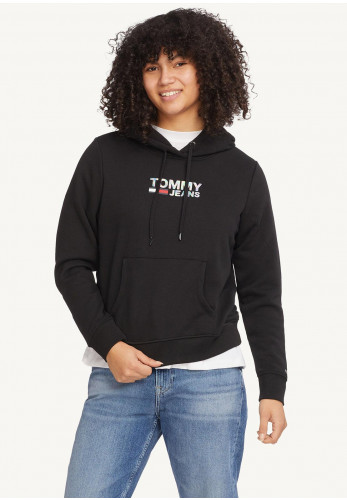 Tommy Jeans Womens Iridescent Logo Hoodie, Black