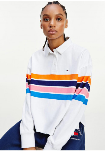 Tommy Jeans Womens Retro Striped Crop Polo Shirt, White