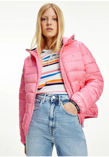 Tommy Jeans Womens Taped Hood Quilted Jacket, Botanical Pink