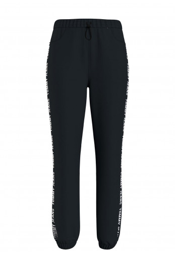 Tommy Jeans Womens Relaxed Tape Trim Joggers, Black