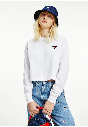 Tommy Jeans Womens Embroidered Heart Logo Crop Top, White