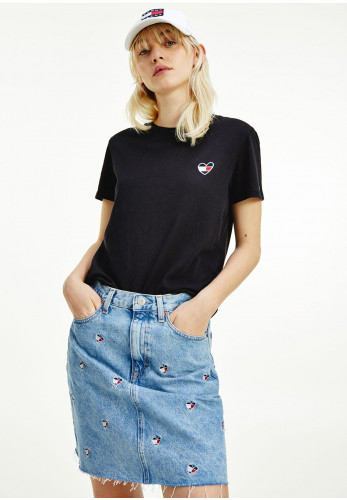 Tommy Jeans Womens Embroidered Heart Crew Neck T-Shirt, Black