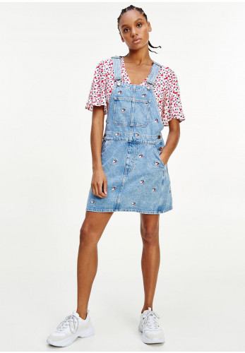 Tommy Jeans Womens Embroidered Hearts Denim Dungaree Dress, Light Blue Denim