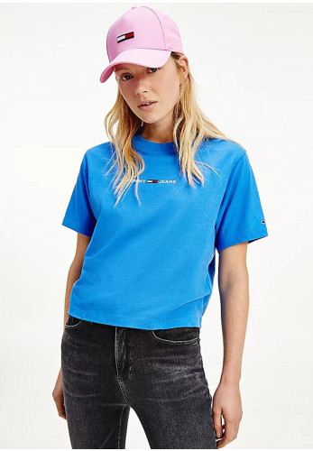 Tommy Jeans Womens Linear Logo Crew Neck T-Shirt, Tidewater Blue