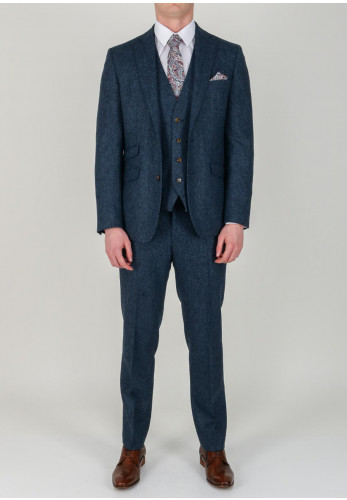 Torre 3 Piece Herringbone Tweed Suit, Navy