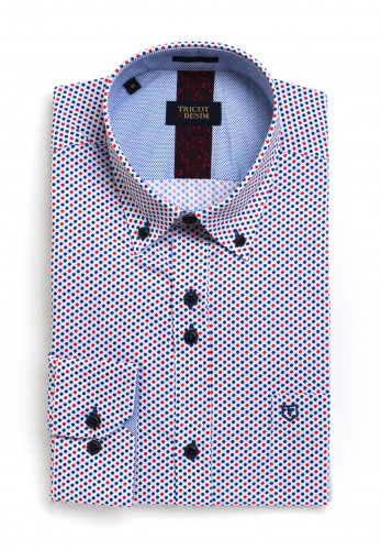 Tricot Denim Long Sleeve Red and Blue Dotted Print Shirt