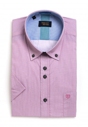 Tricot Denim Short Sleeve Small Grey Dotted Shirt, Pink