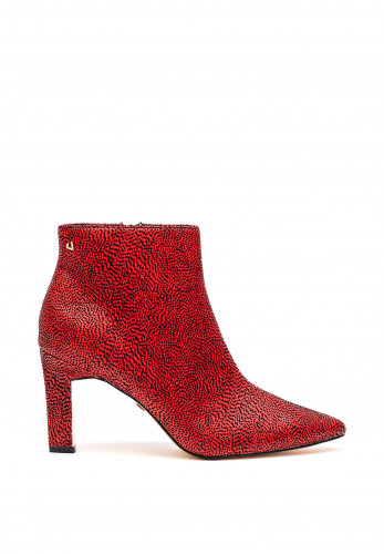 Una Healy Sister Golden Dalmatian Print Ankle Boots, Red and Black
