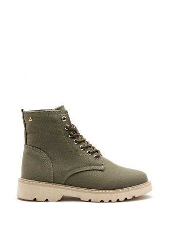 Una Healy Act Naturally Lace Up Canvas Boot, Khaki