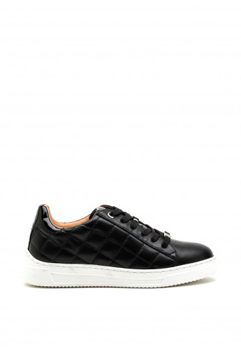 Unisa Leather Quilted Detail Trainer, Black