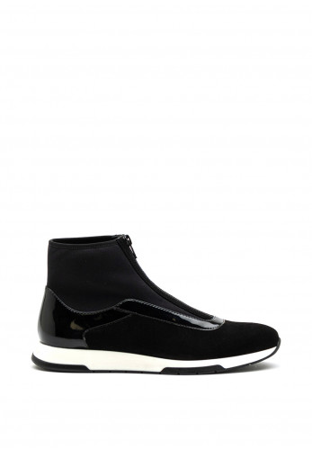 Unisa Suede Mix Zipped High Top Trainer, Black
