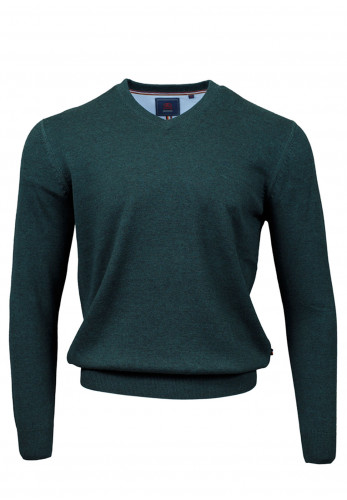 Andre Valencia Cotton V-Neck Sweater, Forest