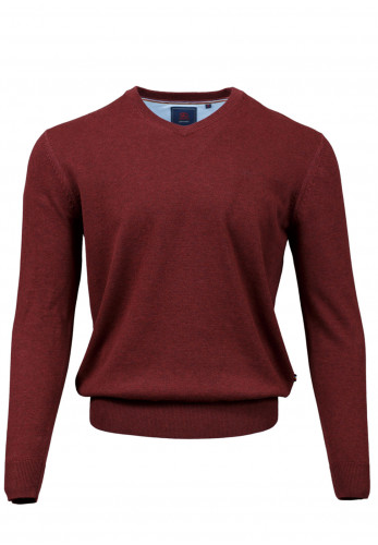 Andre Valencia Cotton V-Neck Sweater, Rust