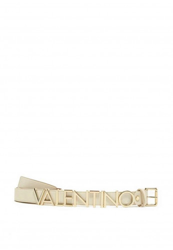 Valentino By Mario Emma Logo Thin Belt, Ecru