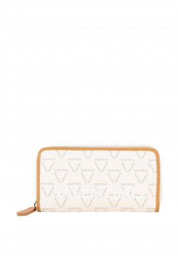 Valentino By Mario Liuto Logo Zip Around Purse, Cream & Tan