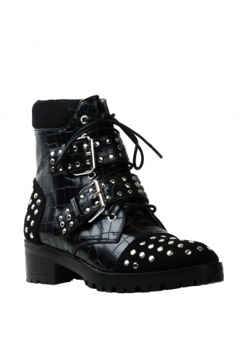Zen Collection Studded Buckle Strap Boots, Black
