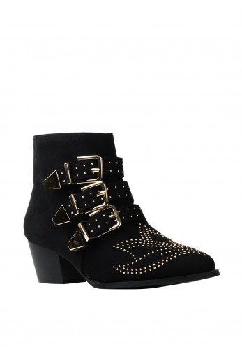 Zen Collection Gold Studded Buckle Strap Boots, Black