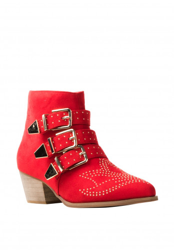 Zen Collection Gold Studded Buckle Strap Boots, Red