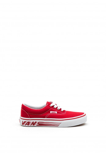 Vans Kids Logo Sole Canvas Trainers, Red