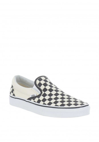 Vans Canvas Checked Slip on Trainers, Black