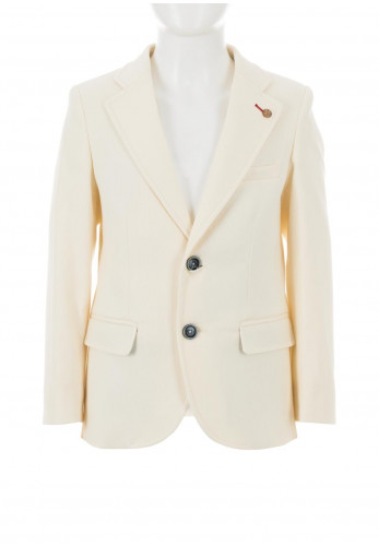 One Varones Cotton Woven Blazer, Cream