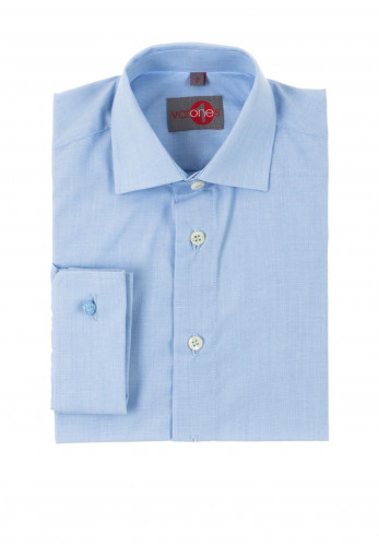 One Varones Boys Plain Cotton Shirt, Blue