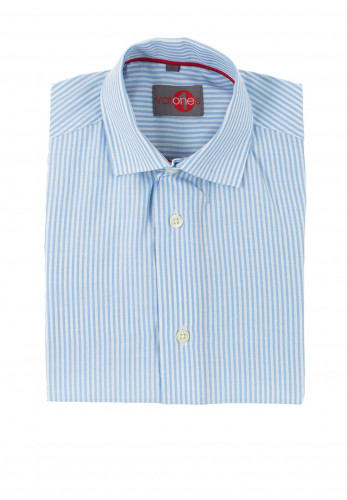 One Varones Boys Stripe Cotton Shirt, Blue