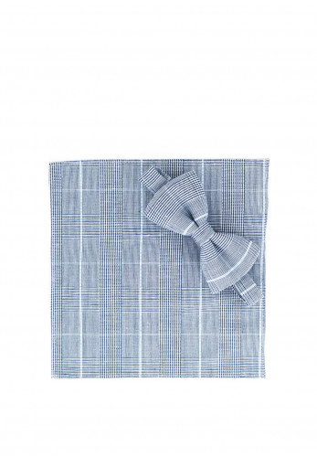 One Varones Glen Check Bow Tie and Handkerchief, Grey