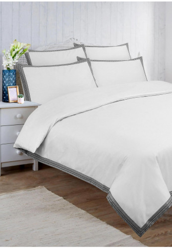 Vantona Home Hotel Collection Lattice Geo Duvet & Pillowcase Set, White