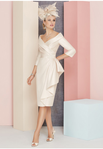 Veni Infantino for Ronald Joyce Draped Dress, Champagne