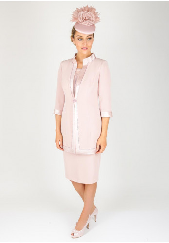 Veni Infantino for Ronald Joyce Gem Embellished Dress & Coat, Pink