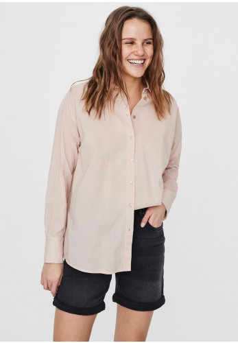 Vero Moda India Loose Button Up Shirt, Pink