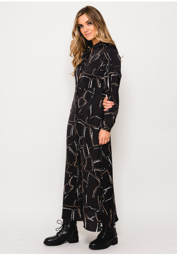 Vero Moda Cala Printed Long Shirt Dress, Black