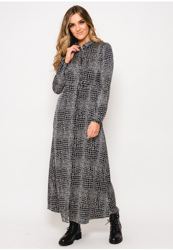 Vero Moda Cala Croc Print Long Shirt Dress, Black