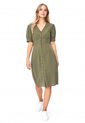 Vero Moda Kassandra Button Dress, Green