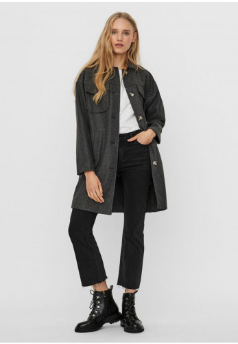 Vero Moda Bonus Ray Flannel Coat, Dark Grey