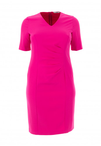 Via Veneto Ruched V Neck Pencil Dress, Pink