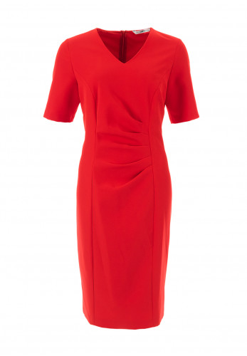 Via Veneto Ruched V Neck Pencil Dress, Red