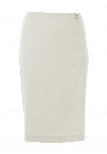 Via Veneto Woven Pencil Skirt, Stone