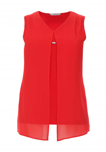 Via Veneto Chiffon Overlay Sleeveless Top, Red