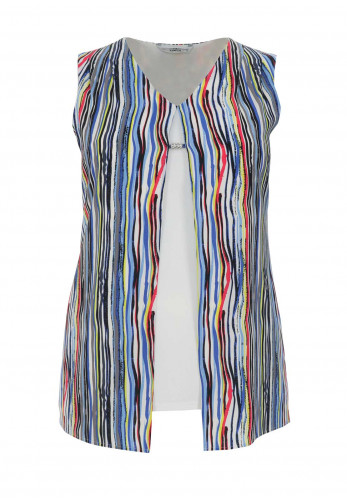 Via Veneto Striped Double Layer Top, Multi-Coloured