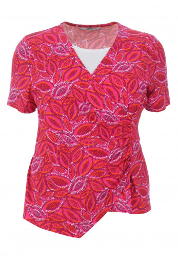 Via Veneto Printed Wrap Over Top, Pink