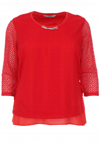 Via Veneto Lace Overlay Top, Red