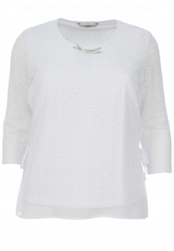 Via Veneto Lace Overlay Top, White