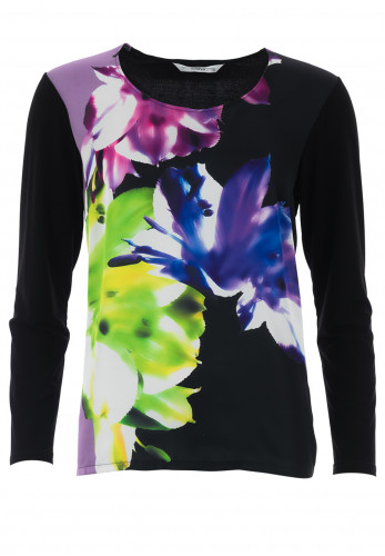 Via Veneto Floral Contrast Jersey Top, Black