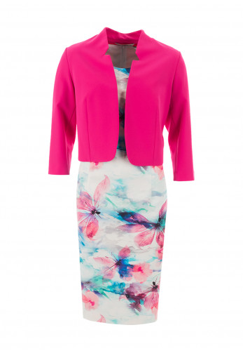 Via Veneto Floral Dress and Jacket, Pink